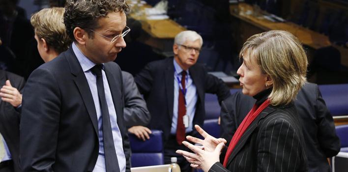Jeroen Dijsselbloem, presidente do Eurogrupo, e Maria Luís Albuquerque