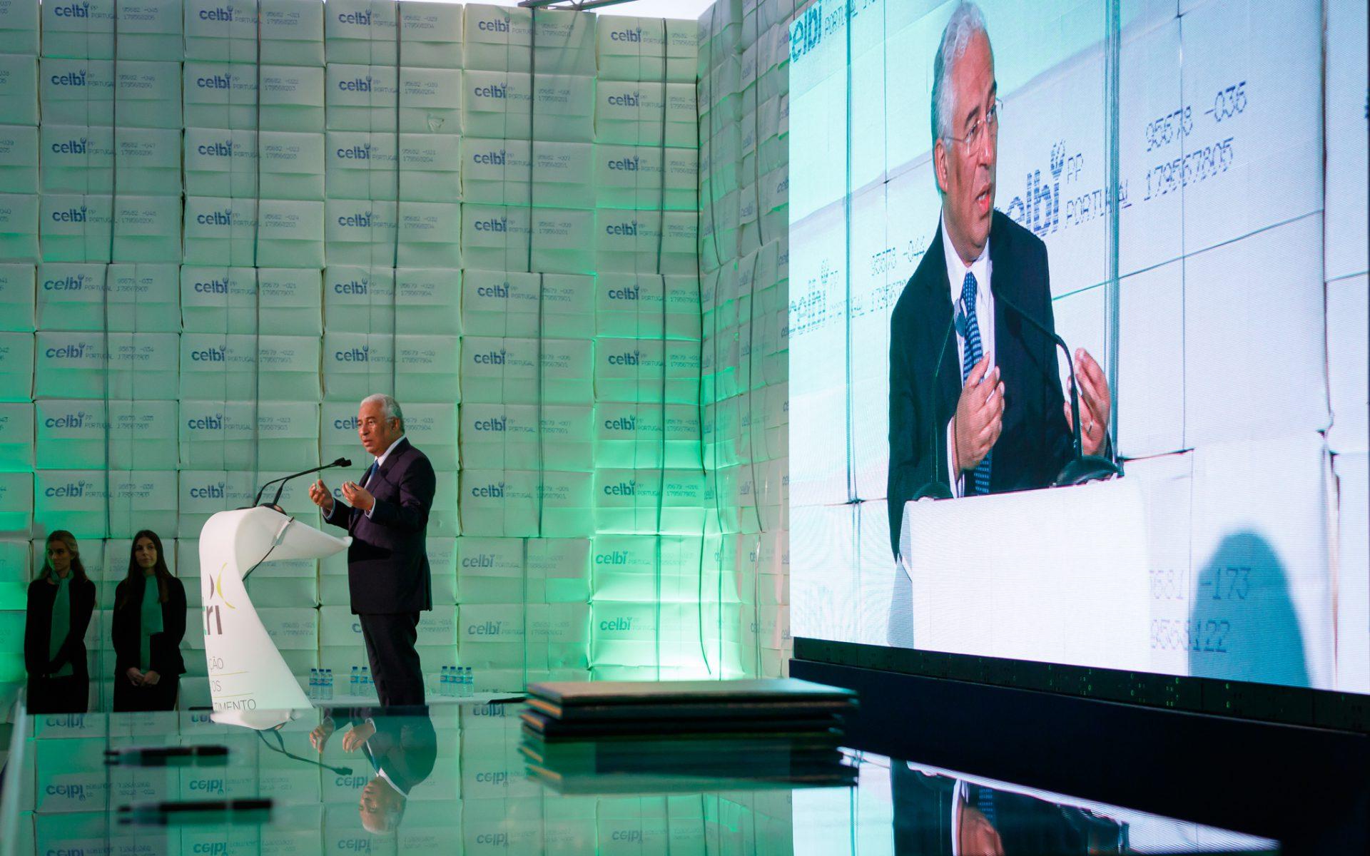 Primeiro-ministro, António Costa, discursa na Celbi