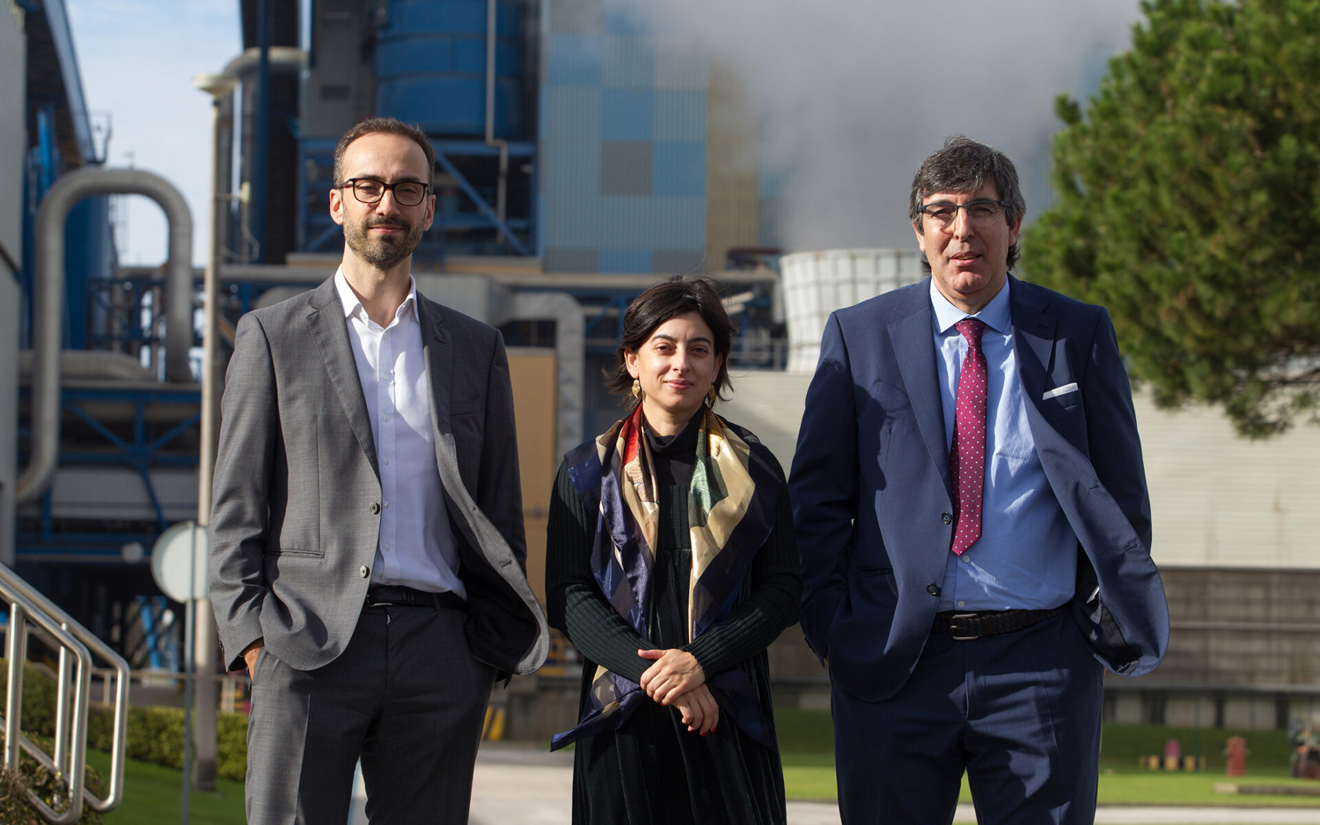 Gabriel Sousa, diretor de Inovação e Desenvolvimento Tecnológico da Altri com João Martins e Isabel Sêco, gestores de Inovação